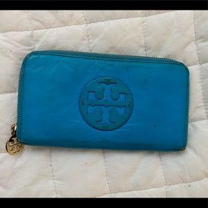 Neon Blue Tory Burch Zip Wallet